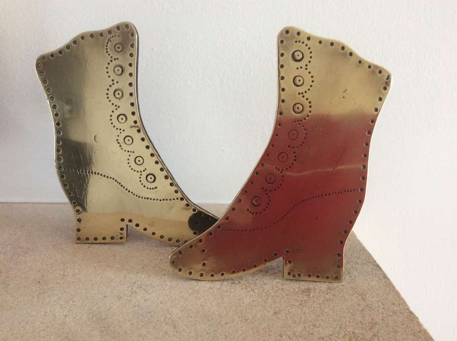 Victorian brass boots chimney ornaments