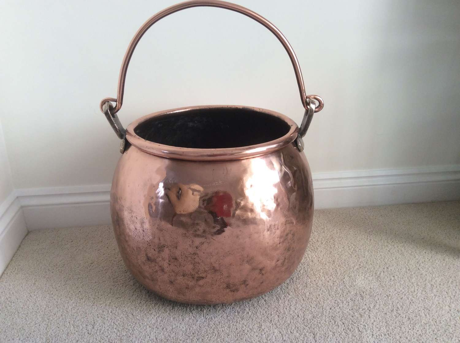 19th Copper cauldron with swing handle