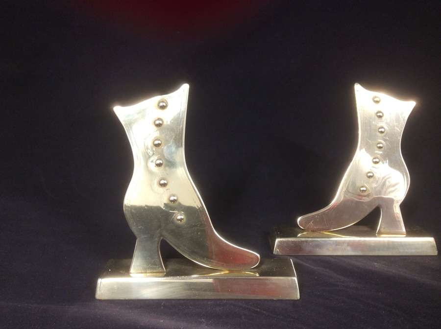 Pair of Victorian brass boot chimney ornaments