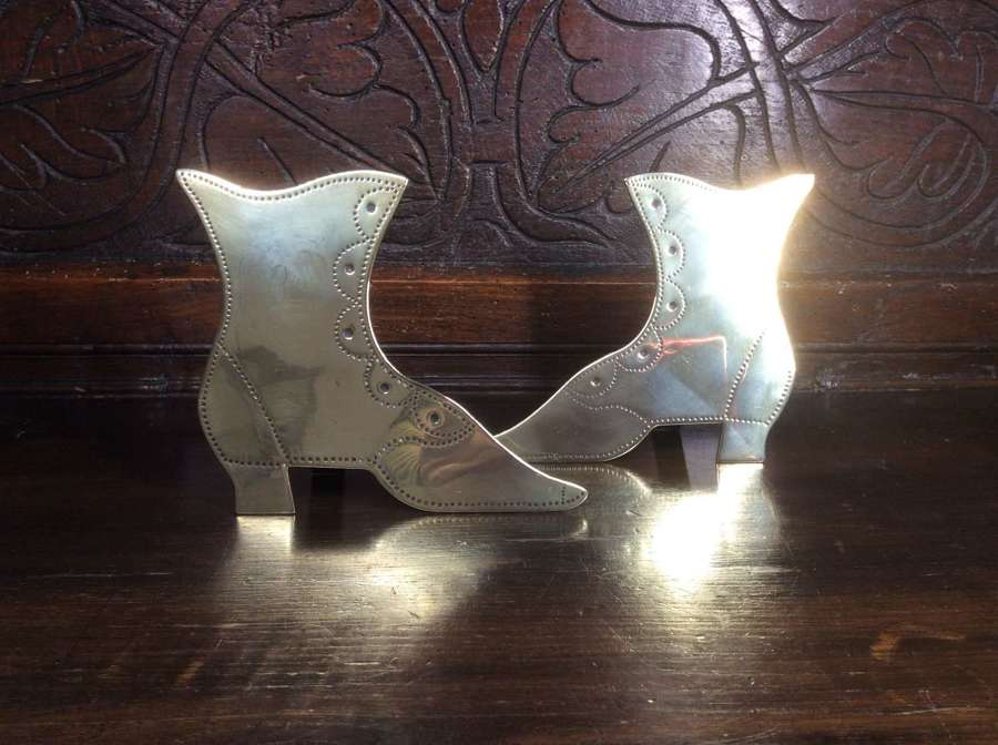 Pair of Victorian chimney or mantle brass boot ornaments