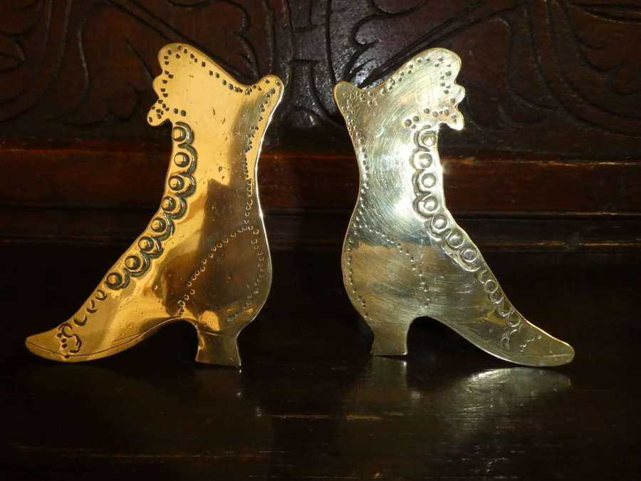 Victorian brass boot chimney ornaments