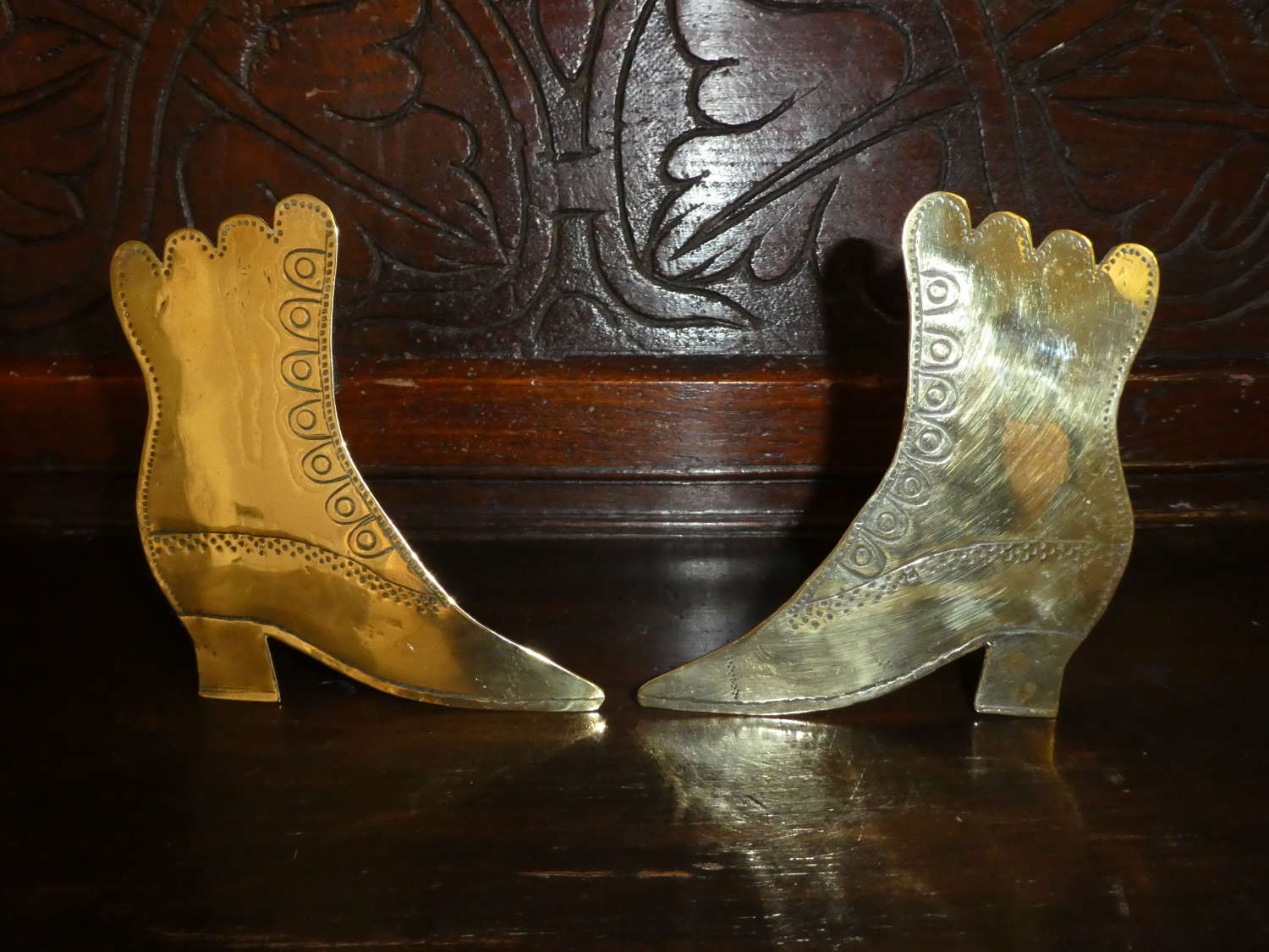 Pair of Victorian brass boots chimney ornaments