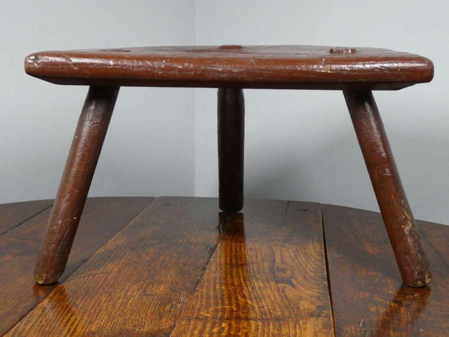 19th Century Welsh Primitive stool in original paint